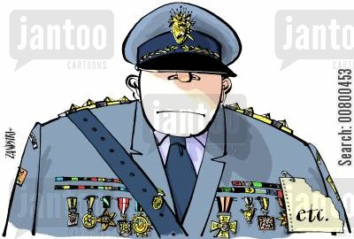 ranking cartoon humor: Military officer with 'etc' pinned to his jacket.