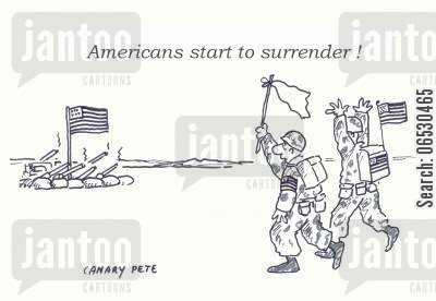 gulf war cartoon humor: 'Americans start to surrender!'