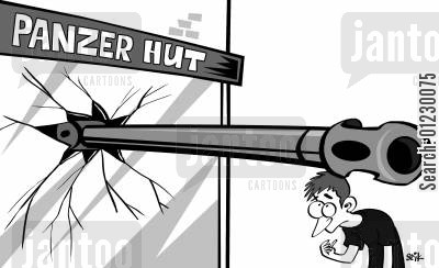 panza hut cartoon humor: Panzer Hut.