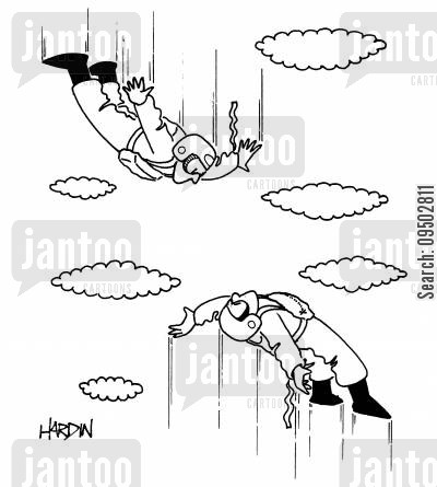 sky divers cartoon humor: Parachute Jumpers.