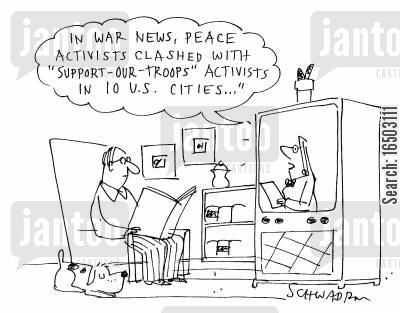support our troops cartoon humor: 'In war news, peace activists clashed with 'support-our-troops' activists in 10 U.S. cities...'