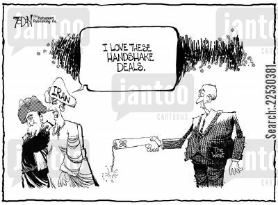 peace deal cartoon humor: Atomic handshake.