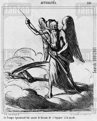 austro-prussian war cartoon humor: Actualities - Father Time feels the need to equip himself according to fashion