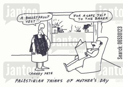 palestine cartoon humor: Palestinian Mother's Day gift - bullet proof vest.
