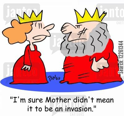 starting wars cartoon humor: 'I'm sure Mother didn't mean it to be an invasion.'
