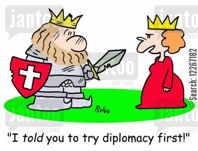 battlefields cartoon humor: 'I TOLD you to try diplomacy first!'