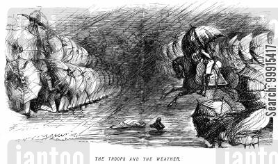 charge cartoon humor: Troops with umbrellas in wet weather