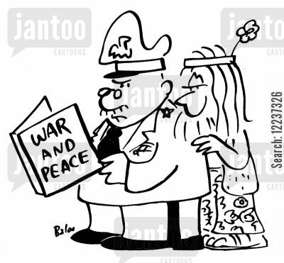 classic books cartoon humor: General and Hippie read WAR AND PEACE.
