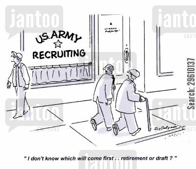 confusing cartoon humor: 'I don't know which will come first.. retirement or draft?'