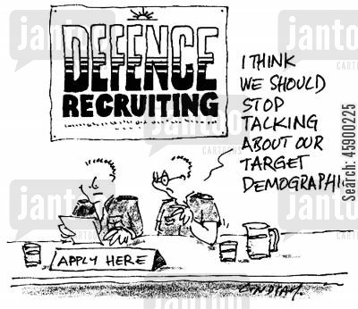 armed force cartoon humor: 'I think we should stop talking about our target demographic.'