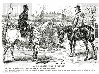 anglo russian tensions cartoon humor: Men on horseback discussing war