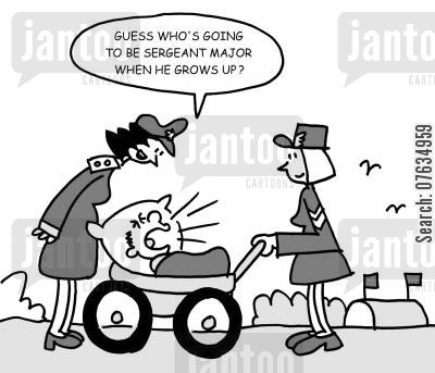 sargeants cartoon humor: Guess who's going to be a sergeant major when he grows up?