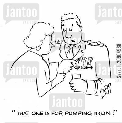 lifting weights cartoon humor: 'That one is for pumping iron!'