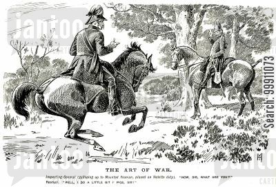 horseback cartoon humor: Inspecting general talking to a common soldier