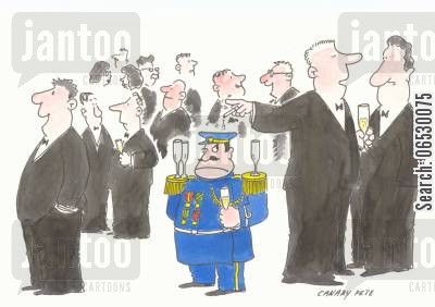receptions cartoon humor: General's epaulettes used as drink stands at party.