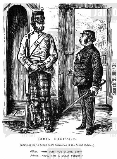 british soldiers cartoon humor: An officer and a private.