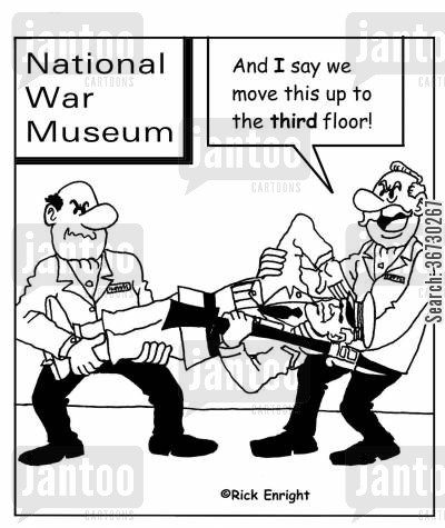 saluting cartoon humor: National War Museum: 'And I say we move this up to the 3rd floor!'