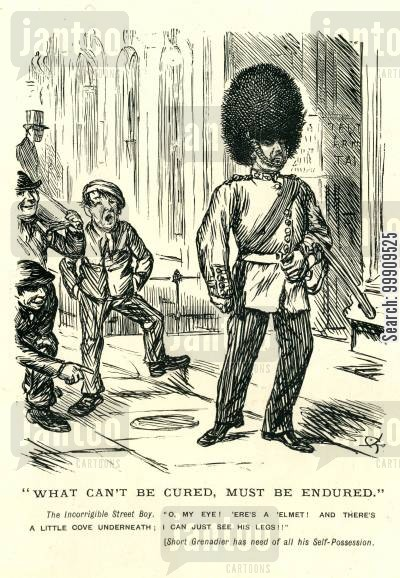 military uniform cartoon humor: Street Boy Taunts Grenadier.