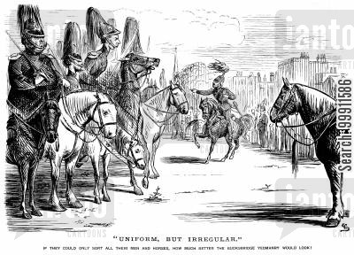 cavalry regiment cartoon humor: Irregular men and horses of the Bucksbridge Yeomanry