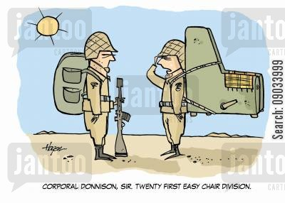 easy chairs cartoon humor: 'Corporal Donnison,sir. Twenty first Easy Chair Division.'