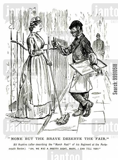 boastful cartoon humor: Off duty soldier describes his regiment to a lady