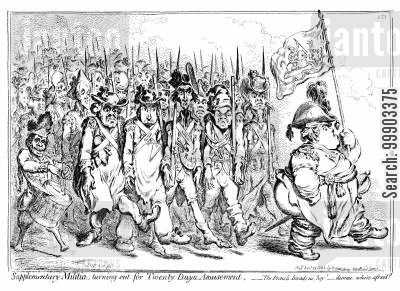 napoleonic wars cartoon humor: Response to Pitt's Call for a Supplementary Militia