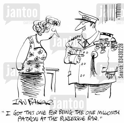 prize cartoon humor: 'I got this one for being the one millionth patron at the burlesque bar.'