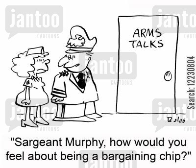 bargaining cartoon humor: 'Sargeant Murphy, how would you feel about being a bargaining chip?'