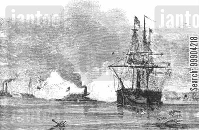 ironclad cartoon humor: Confederate Ram Arkansaw Cuts Through Union Fleet at Vicksburg