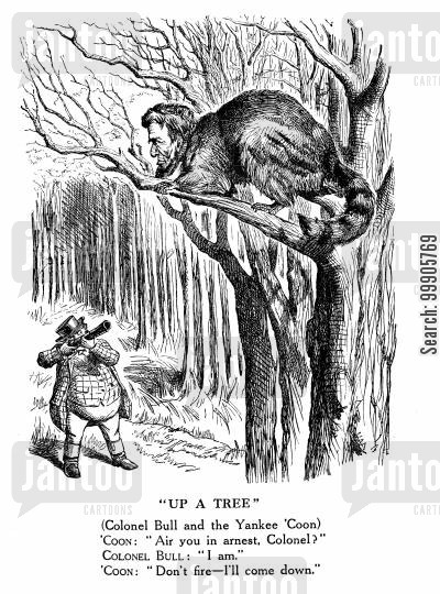 american struggle cartoon humor: Colonel Bull and the Yankee 'Coon - The Struggle in America