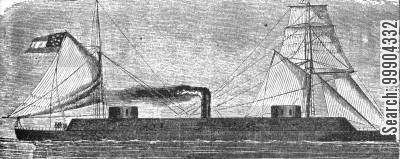 ironclad cartoon humor: Britain's Shipbuilding for Confederates - One of Laird's Steam Rams