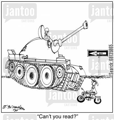 highway patrolmen cartoon humor: 'Can't you read?'