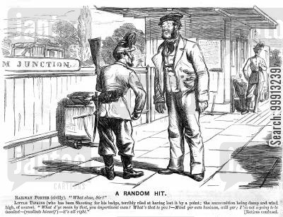 shooting badge cartoon humor: Railway porter asking a soldier 'What class?'