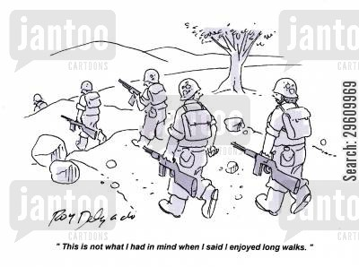march cartoon humor: 'This is not what I had in mind when I said I enjoyed long walks.'