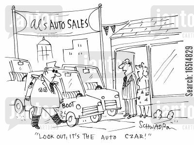 tzar cartoon humor: 'Look out, it's the auto czar!'