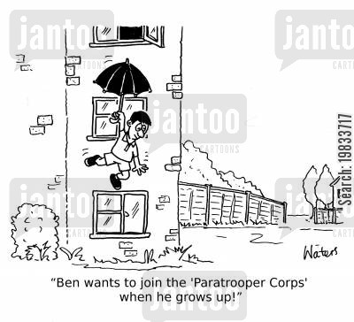 air force cartoon humor: 'Ben wants to join the 'Paratrooper Corps' when he grows up!'