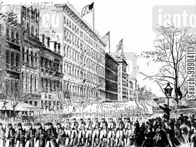 mobilisation cartoon humor: Beginning of Civil War - 7th Regiment March Down Broadway