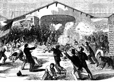 war-time cartoon humor: Mob Attacks the 6th Massachusetts at Baltimore Train Station