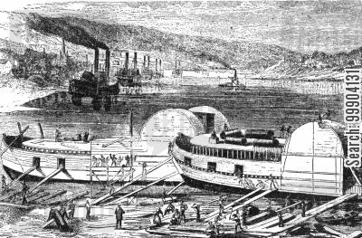 river boat cartoon humor: Union Gunboats Fitting out at Cincinnati for Service on Mississippi