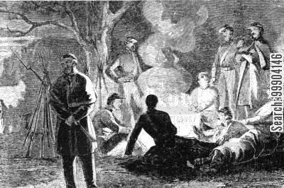camp fire cartoon humor: Bivouac Fire of Army of the Potomac