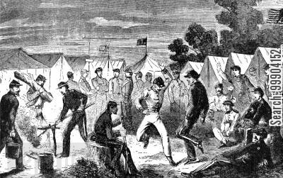 dancing cartoon humor: Army of the Potomac- Evening Scene in Camp