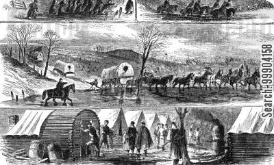 us army cartoon humor: Army of the Potomac Stuck in the Mud, Winter 186162