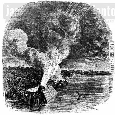 mortar raft cartoon humor: Battle of New Madrid - Union Mortar Rafts Firing at Island No. 10, Missouri