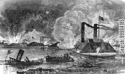 river cartoon humor: Naval Battle off Memphis, Leading to Capture of City