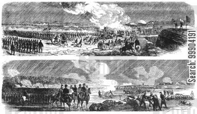 battle of williamsburg cartoon humor: Battle of Williamsburg- Gen. Hancock (Above) and Gen. Hooker (Below) Engage Enemy