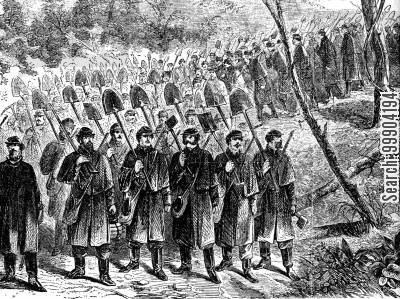 trenches cartoon humor: Union Troops Marching Down to Trenches Before Richmond