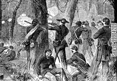 union cartoon humor: Army of the Potomac - Fighting in the Woods During the Seven Days Battles