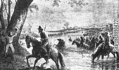 invasion of maryland cartoon humor: Confederates invade the North, Crossing the Fords of the Potomac, Maryland