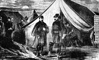 northern army cartoon humor: General McClellan Surrendering the Command of the Army to General Burnside