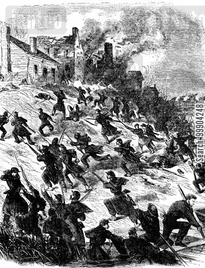 assualt cartoon humor: The Attack on Fredericksburg - The Forlorn Hope Scaling the Hill (Marye's Heights)